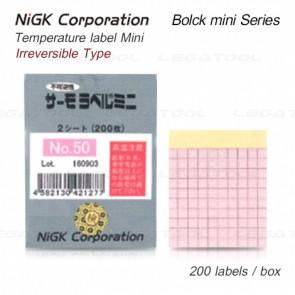 NiGK Bolck mini Series แถบวัดอุณหภูมิแบบ Irreversible single temp. | 50 to 125°C | 200pcs/ 1pack