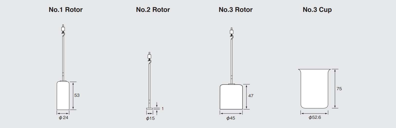Rotors and Cups (unit: mm)